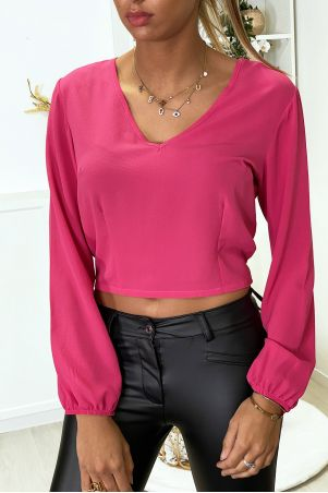 Fuchsia blouse open at the back with bow