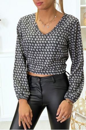 Printed blouse open at the back with bow