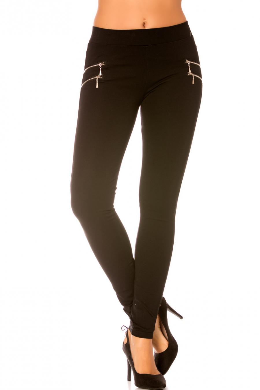 Pantalon Noir avec double Zip argenté sur le côté - SD076