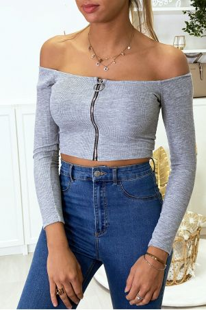 Gray boat neck crop top with stretch knit zip