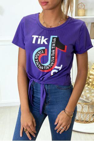 Paars katoenen T-shirt met strik en TIKTOK-tekst