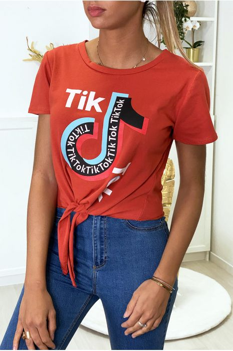 T-shirt in pink cotton with bow and TIKTOK writing