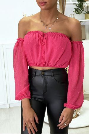 Fuchsia boat neck crop top with separate sleeves
