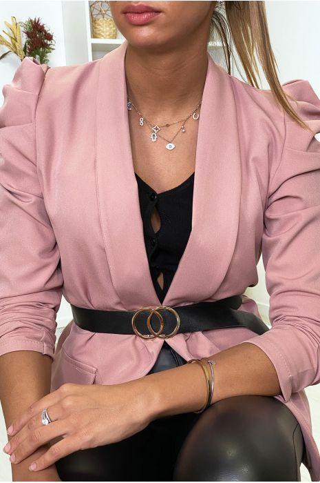 Veste blazer rose épaules bouffante avec ceinture