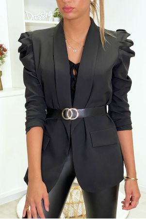 Black puffed shoulders blazer jacket with belt