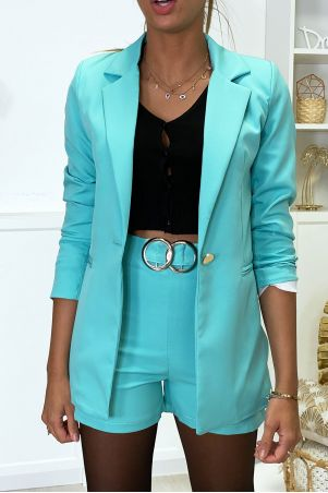 Green blazer and shorts set with buckle
