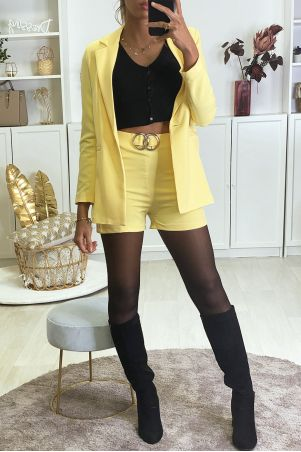 Yellow blazer and shorts set with buckle
