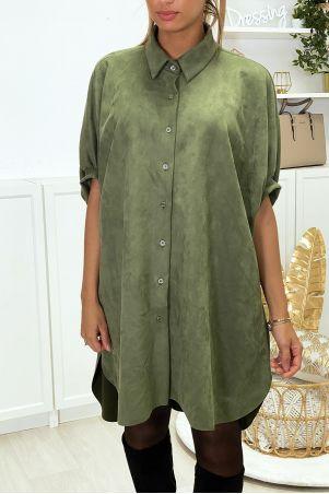 Khaki oversized suede tunic