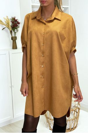 Camel over-size suede tunic