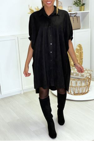 Black over-size suede tunic