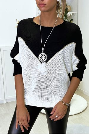 Black, white and gold batwing sweater with collar