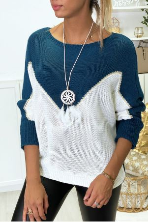 White and gold indigo batwing sweater with necklace