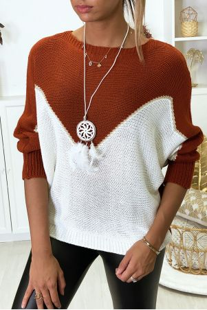 White and gold cognac bat-cut sweater with collar