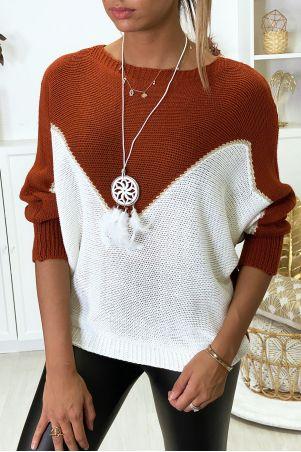 Wit met goud cognac vleermuis-cut sweater met kraag