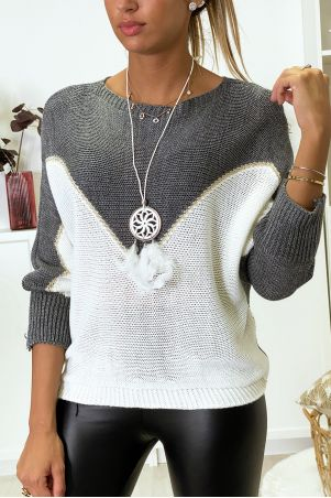 Anthracite white and gold batwing sweater with collar