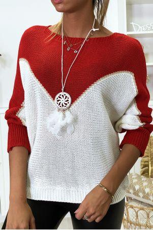 Pull rouge blanc et doré coupe chauve souris avec collier