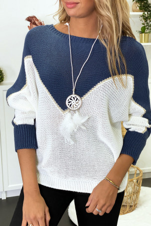 Blue, white and gold batwing sweater with collar