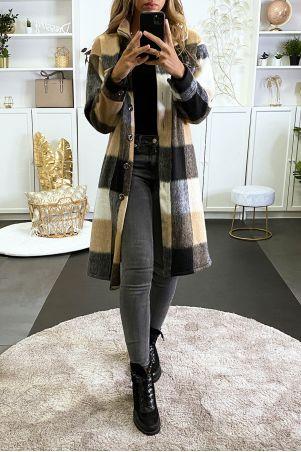 Long over black and camel plaid shirt