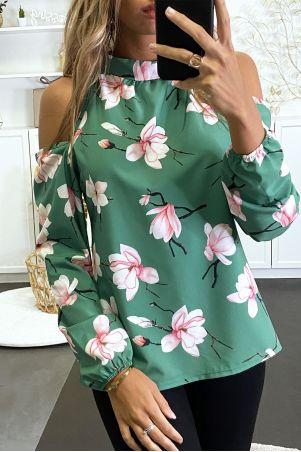 Blouse verte motif fleuris et dénudé aux épaules