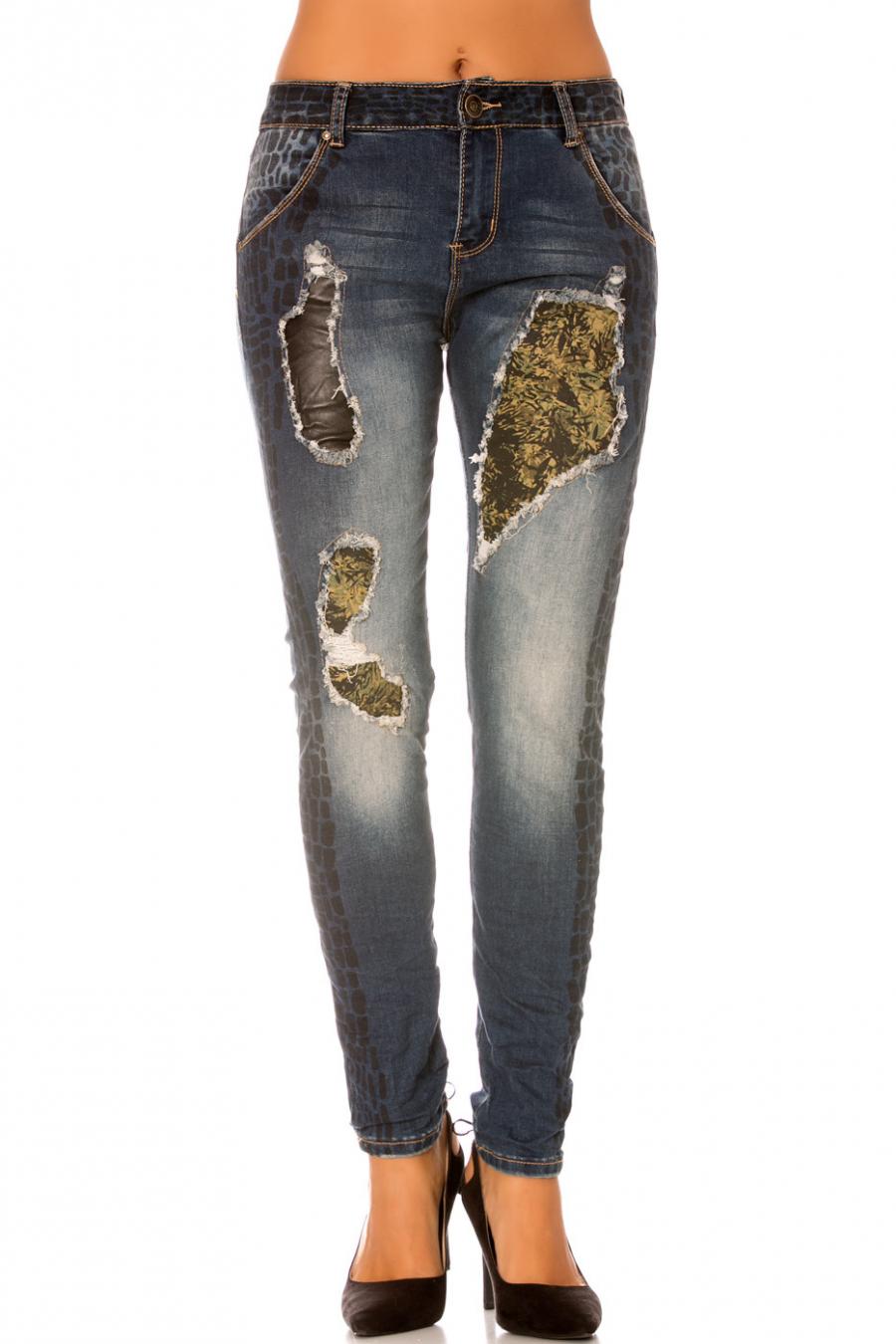 Jeans effet délavé avec tissus à motif - H091