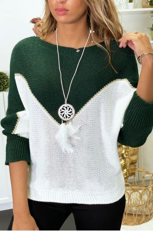 Green, white and gold batwing sweater with collar