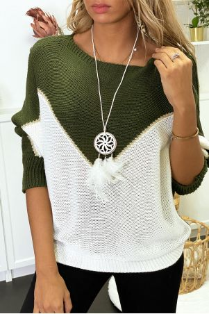 Khaki white and gold batwing sweater with collar