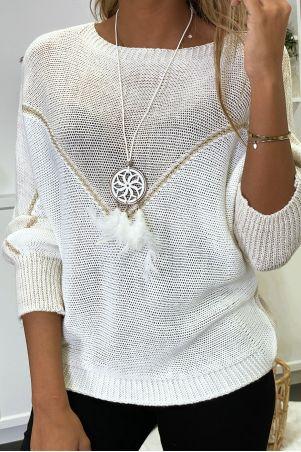 Beige, witte en gouden trui met vleermuismouwen en kraag