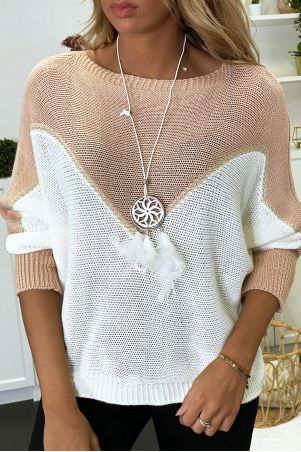 Pink, white and gold batwing sweater with necklace