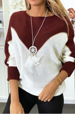Burgundy white and gold batwing sweater with collar