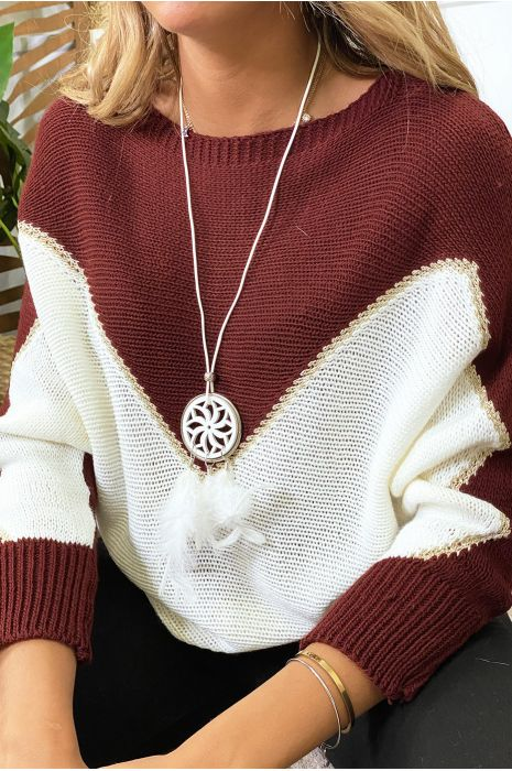 Camel white and gold batwing sweater with collar