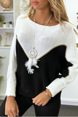 White, black and gold batwing sweater with collar