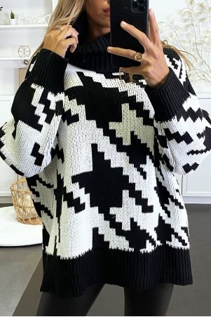 Large oversized black turtleneck sweater with gingham pattern