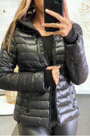 Doudoune noir avec poches et capuche