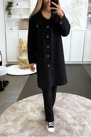 Sur chemise noir composé de laine avec poches au buste