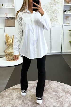 Chemise blanche over size avec poche