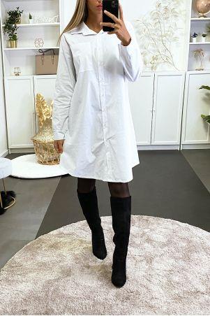 Longue chemise blanche over size avec poche