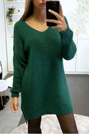 Robe pull verte tombant composé de laine