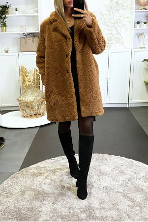 Manteau teddy bear camel avec poches