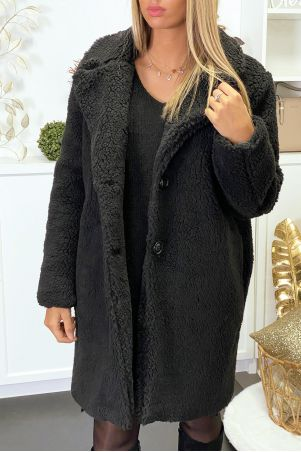 Manteau en teddy bear noir avec poches