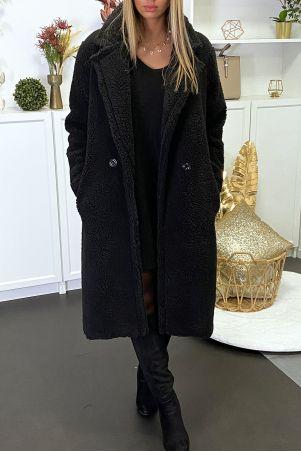 Long manteau en teddy bear noir croisé avec poches
