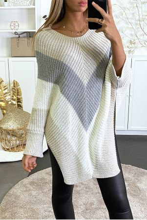 Oversized poncho style sweater in beige, gray and white