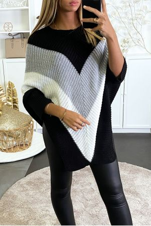 Oversized poncho style sweater in black gray and white