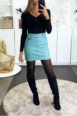 Turquoise faux skirt with belt and pockets