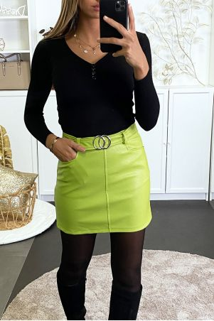 Green faux skirt with belt and pockets