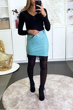 Turquoise asymmetric imitation skirt with lace at the bottom and belt.
