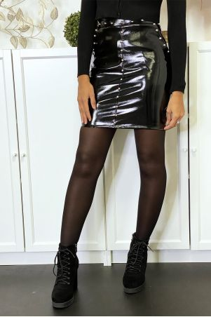 Studded shiny black faux leather skirt with pockets