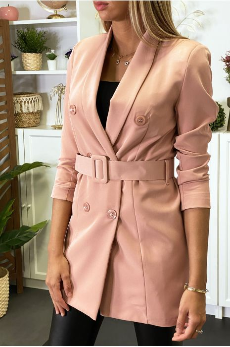 Blazer rose boutonné avec ceinture
