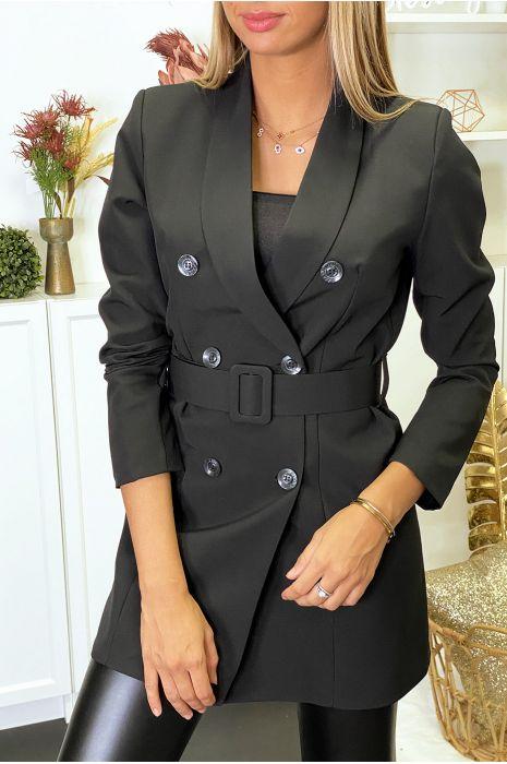 Blazer noir boutonné avec ceinture