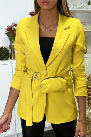 Gele blazer met riem en zak