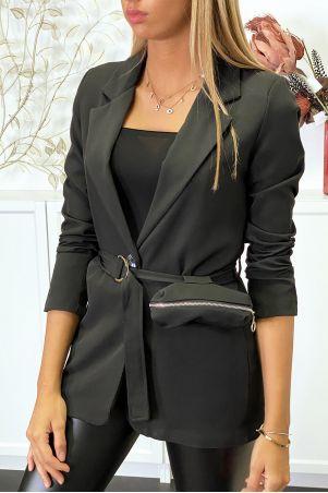 Zwarte blazer met riem en zak